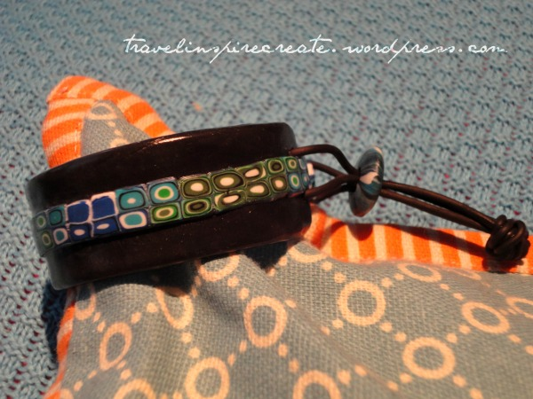 Brue and green bracelet - Pixelated Retro Blend cane and Stroppel cane   Travel Inspire Create
