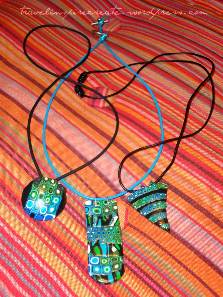 Blue and green pendants - Pixelated Retro Blend cane and Stroppel cane | Travel Inspire Create