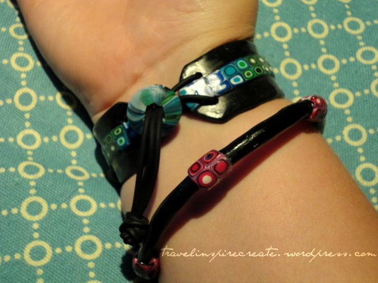 Bracelets detail - Pixelated Retro Blend cane and Stroppel cane | Travel Inspire Create