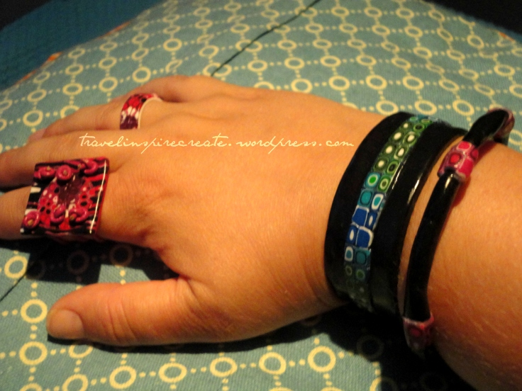 Ring and bracelets - Pixelated Retro Blend cane and Stroppel cane | Travel Inspire Create