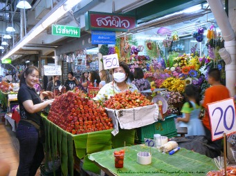 Strawberries on display at a market in Chiang Mai (Thailand)
