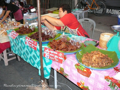 Food on display at the Saturday Walking Street in Chiang Mai (Thailand)