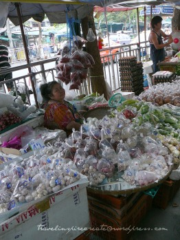 Food in bags on display at a market in Bangkok (Thailand)